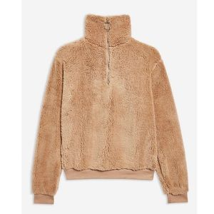 Topshop Quarter Zip Fleece Teddy Sweatshirt In Tan